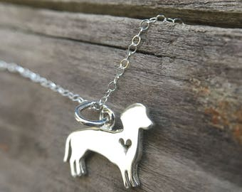 Dachshund Charm Necklace. Sterling Silver Necklace. Chinese New Year Zodiac. Pet Lover. Dog Lover Jewelry