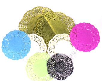 Metallic Shiny Foil and Coloured Paper Doilies Assorted Pack of 25