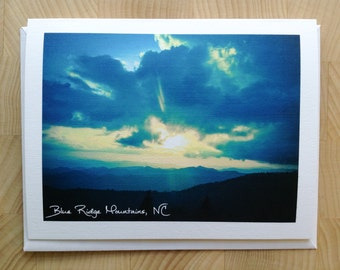 photo print card / greeting card / blank card / note card / stationary / blue ridge mountains