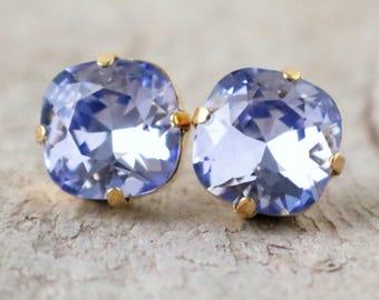 French Lavender | Swarovski Crystal | Cushion Cut | Swarovski Earrings | Square Earrings | Wedding Jewelry | Gift Idea | Lavender Earrings