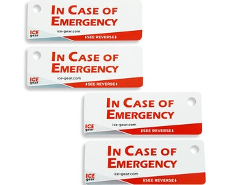 ICE Tags (Set of 4) - In Case of Emergency Tags (emergency contacts, medical conditions, allergies, medications)