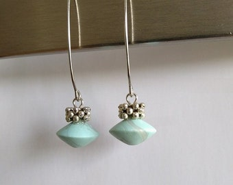 Long mint green earrings.Handmade. Polymer clay. Fimo