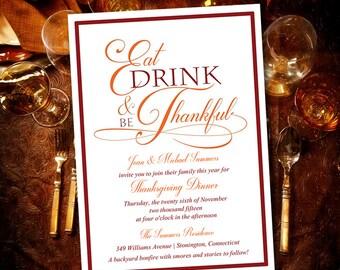 Thanksgiving Dinner Invitation Template - Eat Drink and be Thankful Invitation - Family Thanksgiving Invitation - Red Orange DIY Invitation