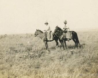 vintage photo 1910 Women Horseback Ride Prairie w Box Camera