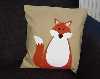 Fox Cushion, Fox pillow, Animal Cushion, wildlife Cushion, Appliqué Animal pillow, Throw Cushion, Boho Cushion, Shabby Chic fox