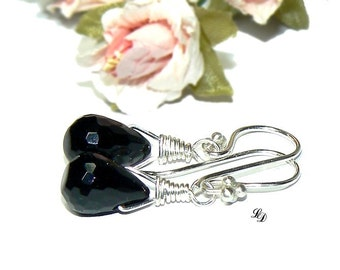 Sterling silver, Onyx Earrings, Black elegance , elegant, boho, semi precious, stylish, black, silver, drop, boho, rocker - Free shipping