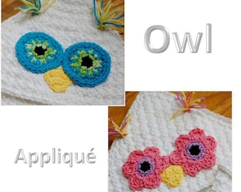 Crochet Pattern - Owl Applique (for Hooded Baby Towel and So Much More) - Immediate PDF Download