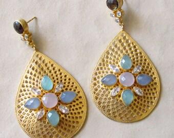 Multi Color Pastel Onyx Drop Filigree Earrings/Gold Dangling Earrings/Ethnic Statement Earring for Women