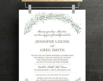 Wedding Invitation Set, Bridal Invitation, RSVP, Wedding, laurel, Printable, DIY