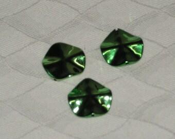 Large shiny green rippled flower acrylic bead