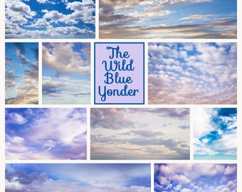 The Wild Blue Yonder Collection of Sky Cloud Overlays Photoshop all versions Digital Scrapbook Instant Download