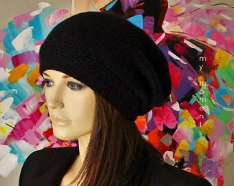 CAP slouch Merino blak Knit Hat