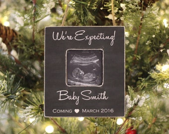 Christmas Ornament Pregnancy Announcement 'We're Expecting' Ultrasound Picture Ornament Expecting