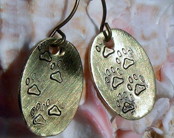 Hand Stamped Antique Brass Earrings, Paw Prints,Jewelry