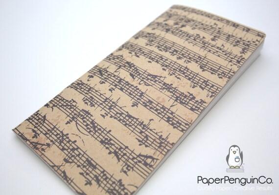 Midori Insert Music Notes Traveler's Notebook Regular A5 Wide B6 Personal A6 Pocket Field Notes Passport / Grid Dots Lined / Bullet Journal