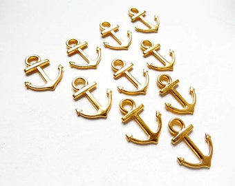 10 Gold Anchor Charms - 21-2