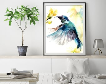 Blue hummingbird art print, bird print, bird watercolor painting print, bird wall art print, giclee print of hummingbird
