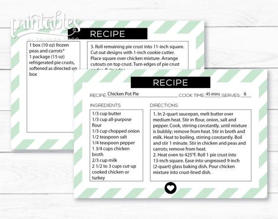 Editierbare Rezept Karte PDF digitale Rezeptkarten DIY