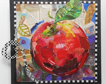 Bright Apple Collage on Gallery Wrapped Canvas, Paper Decoupaged Apple, Checks and Recipes and 3D touches, One of a Kind Kitchen Wall Art