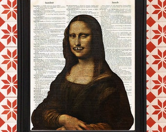 The Mona Lisa winking and showing teeth Leonardo da Vinci Upcycled Recycled Vintage Dictionary Page Art Print dorm decor gift for student