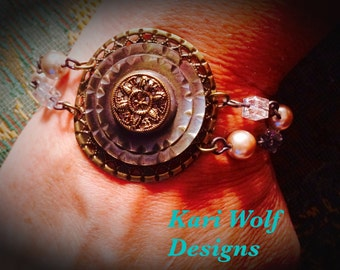 Button, Bracelet, Antique, Mother of Pearl, Vintage, Shabby Chic, eligant, filigree, Boho, Gypsy Style, By: Kari Wolf Designs