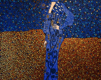Emilie floege, art inspired by Gustav Klimt, famous paintings, created with a delightful abstract circles and copper with blue colors