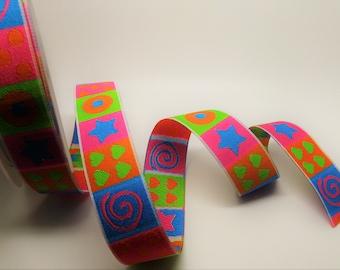 Green, blue, pink, orange woven Ribbon with geometric patterns - ref C10