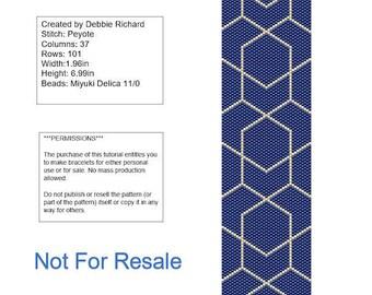 Blue & Gold Peyote Bracelet Pattern