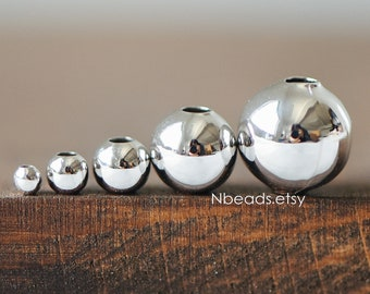 Silver tone Smooth Round Beads,  2/ 3/ 4/ 6/ 8mm, Rhodium plated Brass Spacers Wholesale (GB-255)