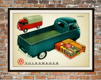 Volkswagen Single Cab VW  -  Rendition of Advertisement - Vintage Advertising - Vintage Volkswagen - Print Drawing Art Item 0143