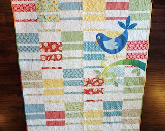 Large Lap Quilt, Baby Quilt, Throw, Nursery Decor, Bird, Applique, Floral, Baby Shower Gift, Handmade FREE SHIPPING