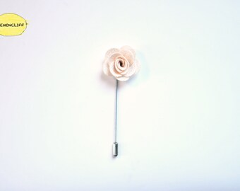 White Floral Pin, Men Suit Lapel, Ribbon Pin, Flower Lapel, Floral Pin, Wedding Floral Ribbon