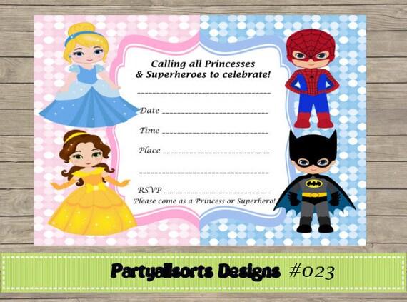 Diy fill in yourself princess and superhero invitation solutioingenieria Image collections