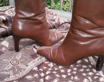 Brown boots, womens boots, designer boots, dress boots, vinatge boots
