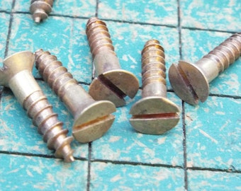 """Brass Flat Head Wood Screws, straight slot, #6 by 5/8"""", 100 count, vintage supply, steampunk brass, boat building,"""