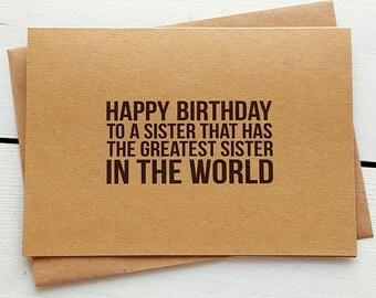 Funny Birthday Card - Sister Card - Handmade Cards - Funny Greeting Cards - Sister Birthday Card - Funny Sister Card - Sister Birthday Gift