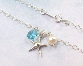 SALE Sterling Silver Starfish Anklet, Silver Anklet, Tropical Anklet, aquamarine, fw pearl, beach jewelry, weddings, plus size bracelet