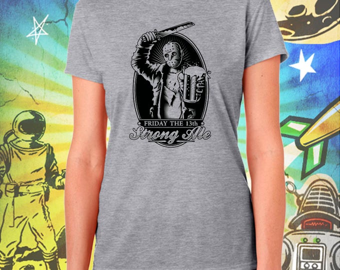 Friday the 13th / Jason's Strong Ale in Black / Women's Gray Performance T-Shirt