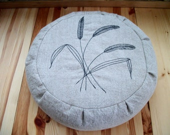"Meditation Cushion. Zafu. Round Floor Pillow. Buckwheat Hulls. Machine stitched reeds. 15"" dia. x 5""H. Sidewall Velcro Closure. Handmade USA"