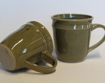 Large Coffee Mug with Green Celadon glaze,  Handmade pottery