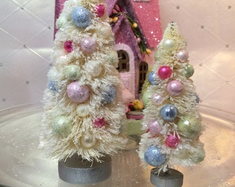 Bottlebrush Trees ( Set of 2 )Cream Trimmed with Cream, Pinks, Green and Blue Ornaments