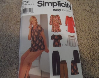 Simplicity 5756 Misses Maternity Dress, Top, Skirt, and Pants Sizes 6-12
