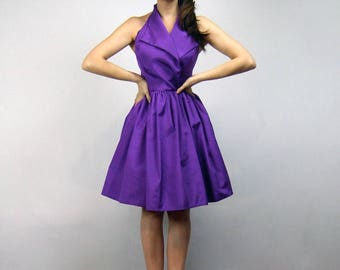 Purple Party Dress 80s Prom Dress Collared Cocktail Dress Deadstock- Extra Small to Small XS S