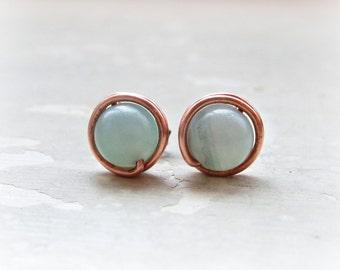 Copper Stud Earrings, Amazonite Studs, Aqua Stud Earrings, Wire Wrap Earrings, Seafoam Studs, Gemstone Earrings, Natural Stone Studs