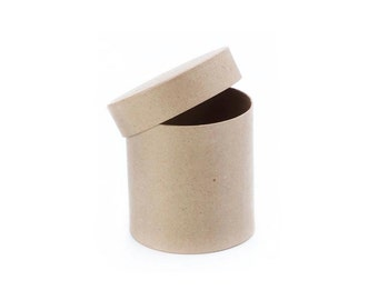 Round Paper Mache Cardboard Box - 4 x 4 Inch - Craft Gift Wrap Packaging Party Supplies