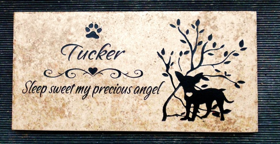 Chihuahua Grave Marker 12x6 - 'Tucker' design - Weathered Italian porcelain stone tile