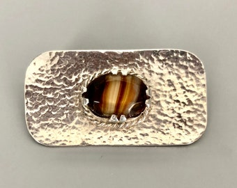Gorgeous silver and agate brooch