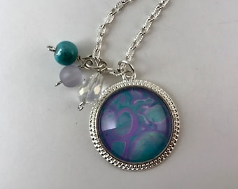 Purple/Teal Pendant and Necklace with Beads