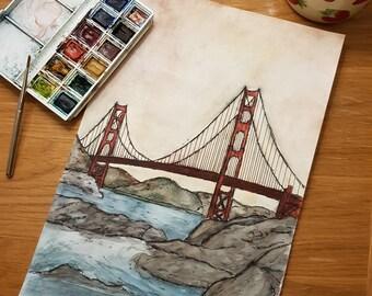 Golden Gate bridge acrylic, fine-liner drawing