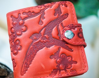 Red wallet Leather red wallet Bird emboss Red bifold Swallow wallet Bifold wallet for-women Big wallet for-mom Leather bifold wallet